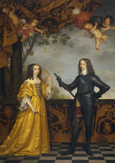 Honthorst, Gerrit van: William II, Prince of Orange, and his wife Mary Stuart. Fine Art Print/Poster. Sizes: A4/A3/A2/A1 (002166)